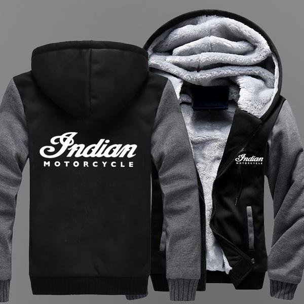 2019 Indian Motorcycle Brand Mens Baseball Uniform Cashmere Hoodie Print Sweatshirts Men Thick Warm Cotton Jacket