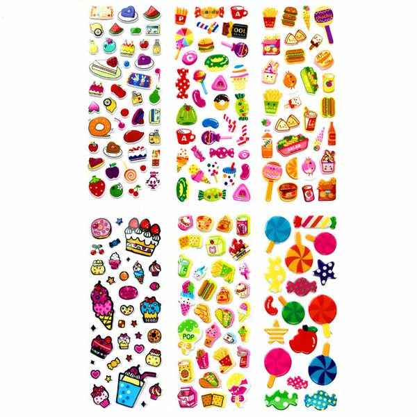 Food Snacks Lollipops Sweets Desserts Scrapbooking Bubble Puffy Stickers 100 Sheets Kawaii Emoji Reward Kids Toys For Children