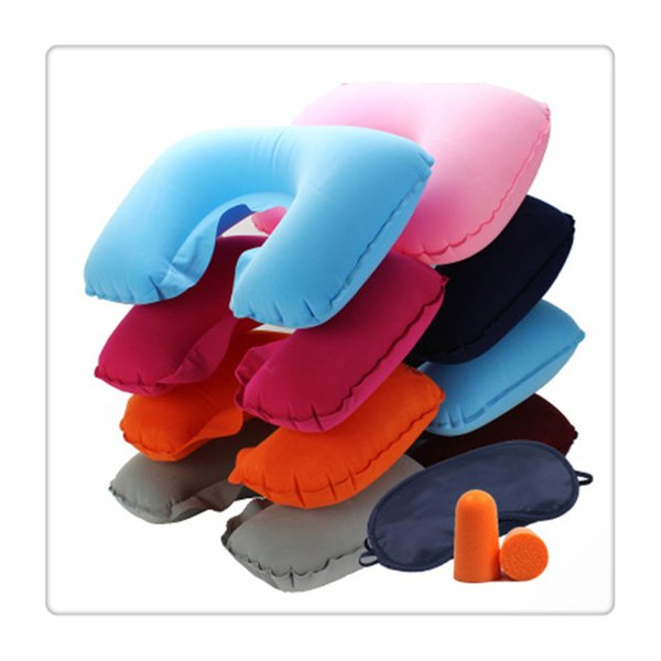 Mask Blinder Ear Plugs 3 in 1 Cycling Masks Camping Car Airplane Travel Kit Inflatable Neck Pillow Cushion