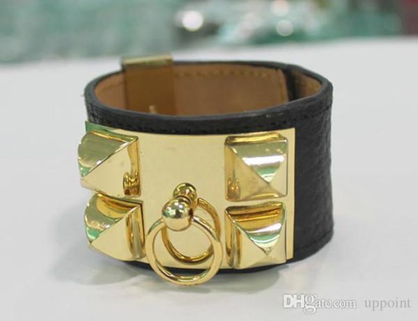 JewelryStore999 Горячая продажа CDC Новый браслет дизайн Titanum стали с натуральной кожи во многих цветах Женщины и человек ювелирные изделия фирменного наименования подарки