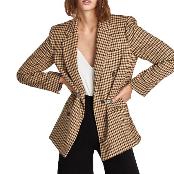 2019 printemps veste femme casual manteau à carreaux kaki femme vêtements à manches longues manteau femmes
