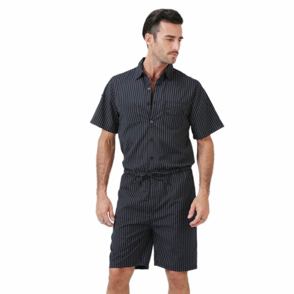 Rompers for Men Short Sleeve Cotton Jumpsuit slim Male Playsuit Cargo Overalls Summer One Piece suits Sets Pants plus size 4XL