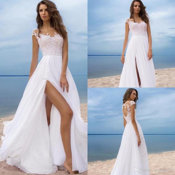 White Chiffon Lace Beach Wedding Dresses Sexy Side Split Sheer Jewel Backless Wedding Gowns Simple Cheap Summer Bridal Dress Custom Made
