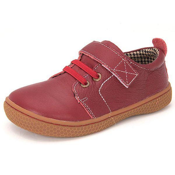 Chaussures enfants en cuir de marque Enfants chaussures aux pieds nus pour garçons chaussures orthopédiques unisexes filles taille 31-35 couleur marron rouge