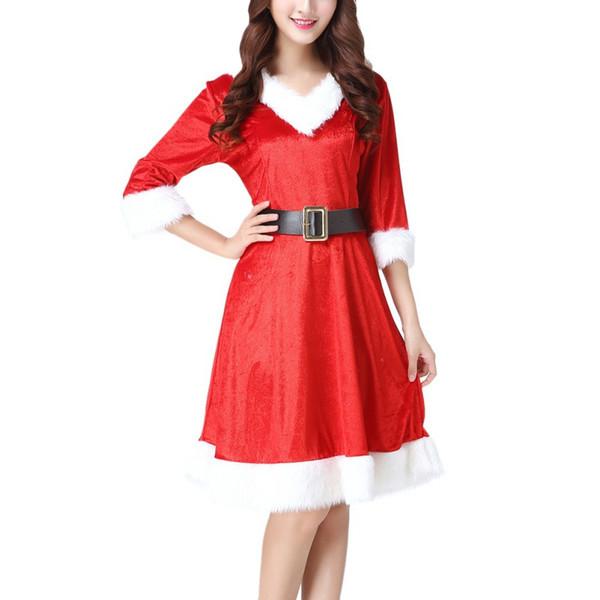 Costumi di Natale per adulti 2019 vestiti dei nuovi Natale costume rosso sexy ragazze partito di prestazione del COS