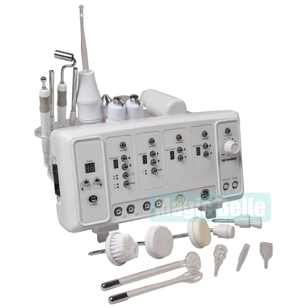 Hottest Portable 6 In 1 High Frequency/Ultrasonic/Spray/Vacuum/Galvanic/Brush Multifunction Skin Care Beauty Machine