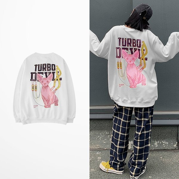 Korean Fashion Hoodies Cartoon Rabbit Print Hoodies Hip Hop Skateboard High Street Lovers Couple Harajuku Sweatshirt Men