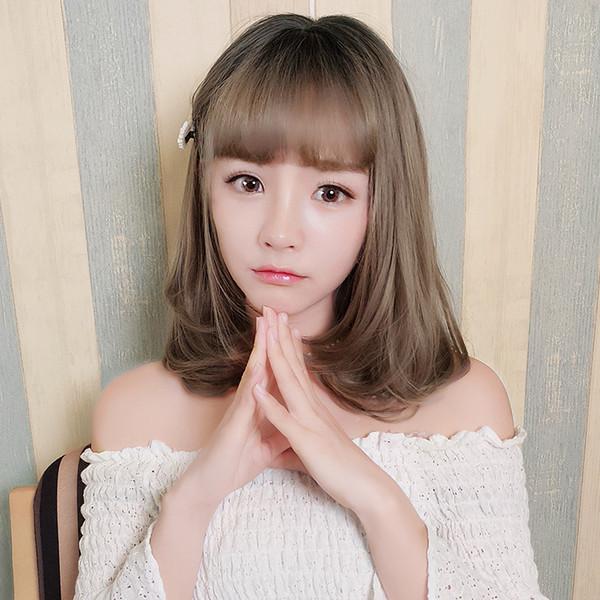 employees Wig female short hair pear head Korean air bangs long curly hair buckle natural fluffy face micro curl set