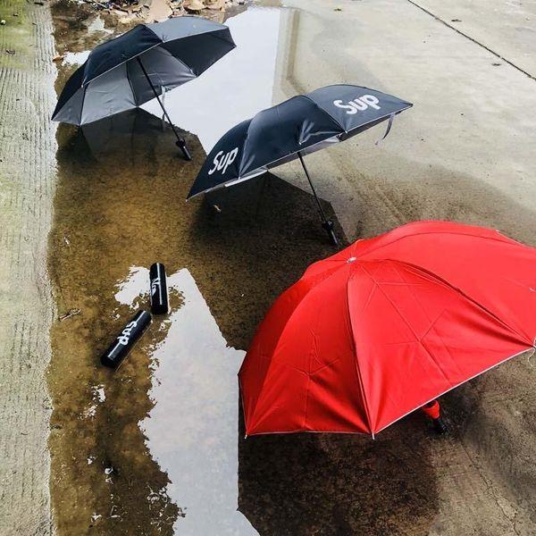 best selling Sup Umbrella Folding Student Umbrellas Men And Women Sun Proof Sunny Rain Dual Purpose Black Red