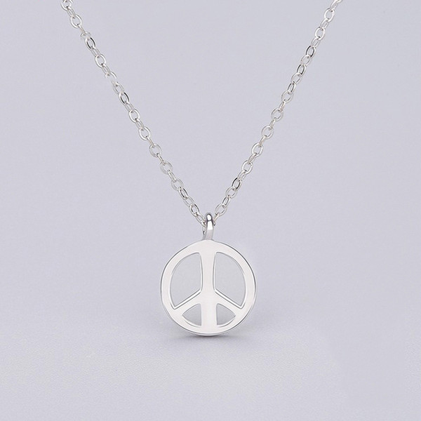 Cheap Price Plain Silver Solid 925 Sterling Pendant Necklace 45cm Peach Sign Jewelry 1pc A Lot