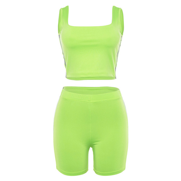 2019 new Light Reflective Stripe Patchwork Fluorescence Color Fitness Suits Sleeveless Short Tops with Shorts Women Sets