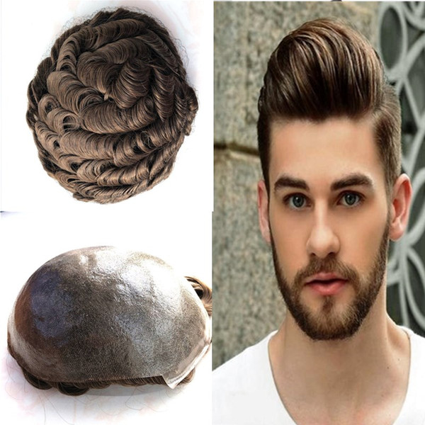 Full Pu Men Toupee Thin Skin Toupee For Men Replacement System V Loop Pu Hairpieces Black Brown Wave Human Hair Men Wigs #6