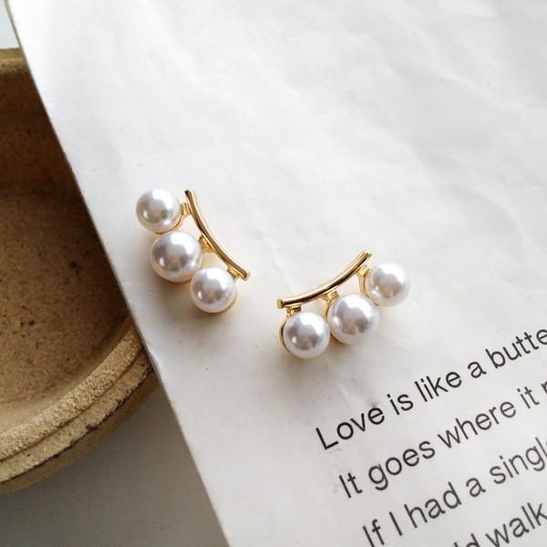 2019 Nuevos pendientes de clip de perlas de imitación geométrica Sin agujero de oreja Moda Tiras elegantes Clips en pendiente sin piercing para mujeres