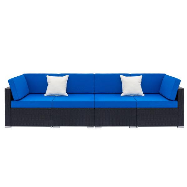 2019 NOVITÀ Set di divani in rattan intrecciati completamente attrezzati con 2 pezzi angolari 2 pz singoli divani neri