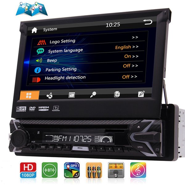 Simple 1 Din voiture lecteur DVD CD stéréo 7 pouces écran tactile de navigation Muti-GPS Radio voiture Bluetooth FM AM RDS 1080p 8 Go carte Carte