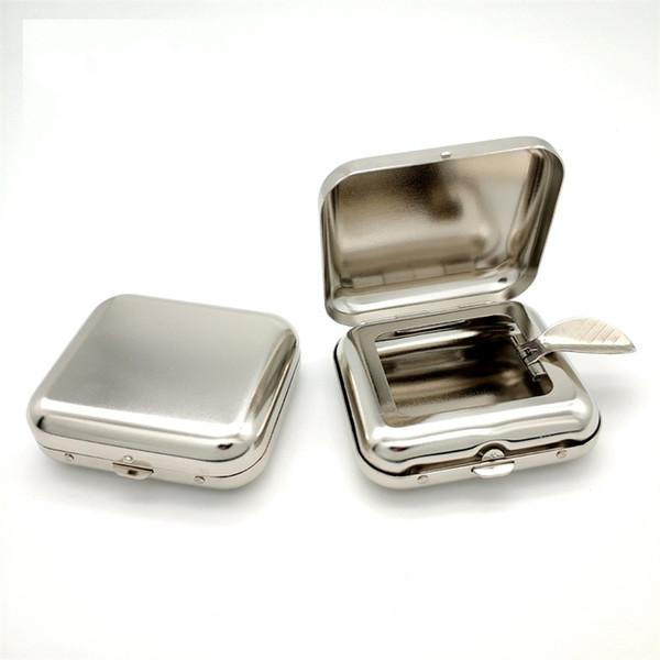 Mini cenicero cuadrado Walk Pocket Ceniceros de rebote automático Acero inoxidable Color primario Cigarrillo Ash Case Eco Friendly 7 5hy L1