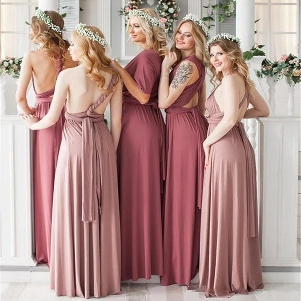 2019 New Convertible Bridesmaid Dresses Formal Wear Criss Cross Backless Sexy A Line Wedding Party Dress 27 Colors Girls Even Dress QL2035