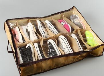 12 Pairs Shoes Storage Box Non Woven Fabric Shoes Organizer Hot Sale Folding Transparent Dustproof Moisture-proof Shoes Storage Case