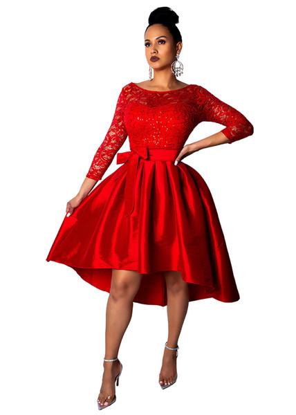 Women Party Dresses Clothes 2019 Hollow Out Floral Dress for Women Vintage Prom Dress Elegant Applique Lace Party Evening Gowns Plus Size