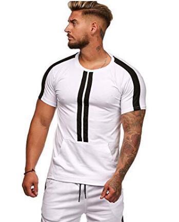Nouveau Style De Mode Hommes Ensemble De La Mode Rayé Sportwear Survêtement D'été T-shirt À Manches Courtes Costume