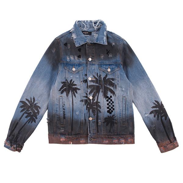 Großhandel Herren Jacken Hochwertige Retro Vintage Coconut Print Farbverlauf Street Fashion Loch Zerrissene Jeansjacke Herren Herbst Trend Jacke S 2XL
