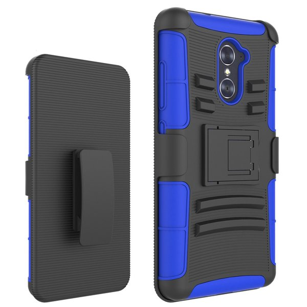 Silicone+PC Defender Holster Belt Clip Rugged Case for ZTE Imperial Max Z963U/Grand X Max 2/KIRK Z988/Max Duo Cover with Stand