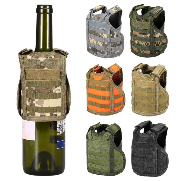 Tactical Beer Vest Bottle Can Cooler Holder Molle Mini Miniature Beverage Bottle Handy Wine Bottles Can Holder Sleeve
