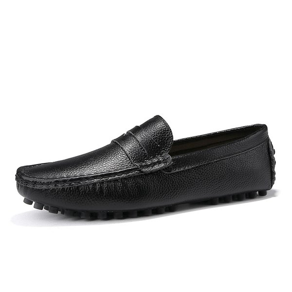 Genuine Leather Men Shoes Luxury Italian Casual Mens Loafers Moccasins Breathable Slip on Boat Shoes Black Plus Size 39-48