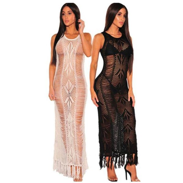 cd9dc641c3 Beachwear Biquinis 2019 Summer Beach Dress White Mesh Cover Up Women  Crochet Bikini Cover Ups Swimwear