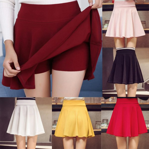 2019 Mujeres Verano Cintura alta Falda plisada Elegante A-Line School Flared falda corta más el tamaño 3XL Chicas coreanas Mini
