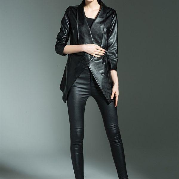 2018 Autumn Winter Black PU Jackets Women Goth Versatile Warm Windbreak Female Casual Turn-Down Collar Leather Coat