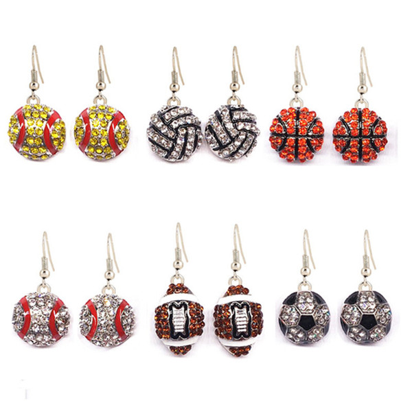 11 COLOR Dangle Earring Softball Basketball Volleyball Soccer Rhinestone Crystal Bling for Girls Headbands Sports LE263
