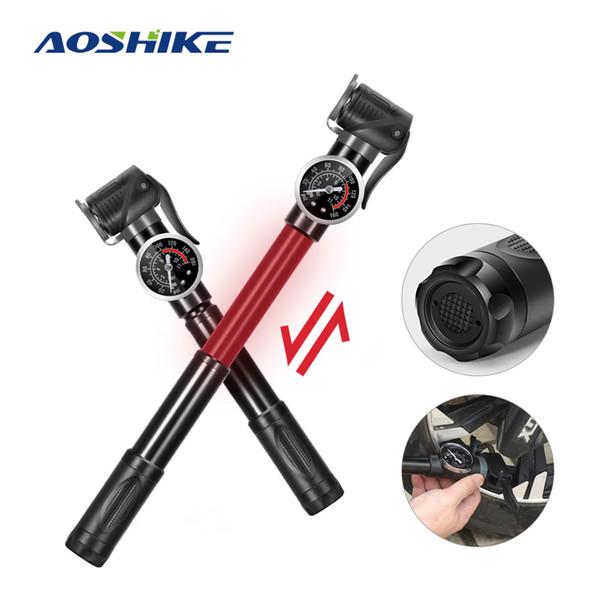 AOSHIKE 1PCS Pompe haute pression mini portable en alliage vélo Motocycle boule pompe à vélo main pneus vélo portable Gonfleur