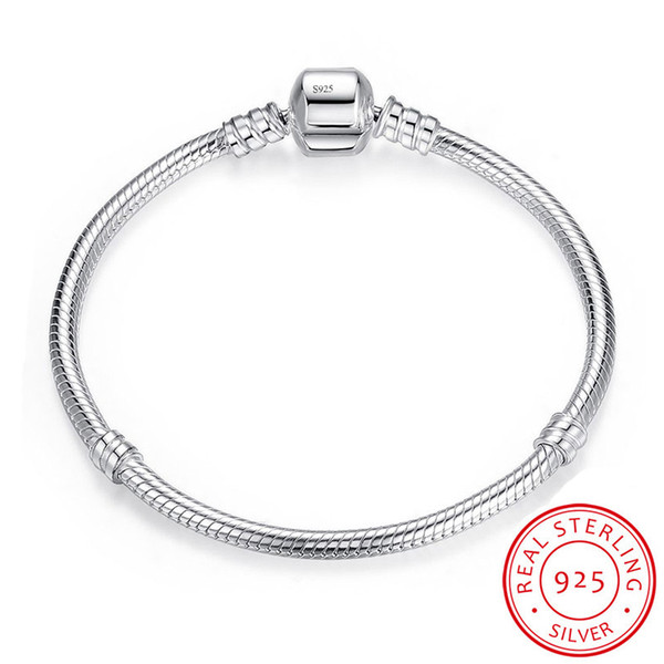 YHAMNI 100% Original 925 Solid Silver Bracelet Charm Jewelry 16-23cm Long Snake Chain Bracelet Bangle Gift for Women LB005