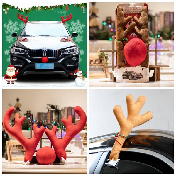 Set Vehicle Car DIY Christmas Decoration Cute Funny Reindeer Red Nose Antlers
