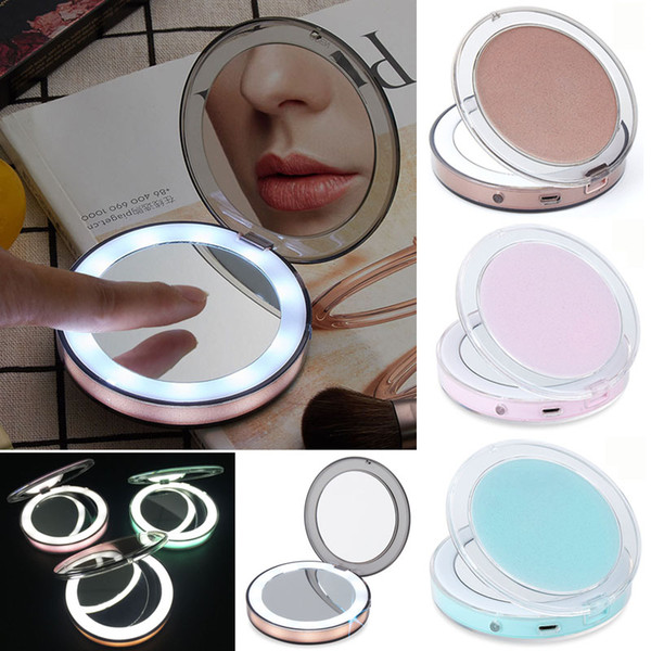 Portable led mirror rechargeable makeup mirror touch creen led mirror 2 face 1x 3x magnifying gla e edge light co metic makeup tool