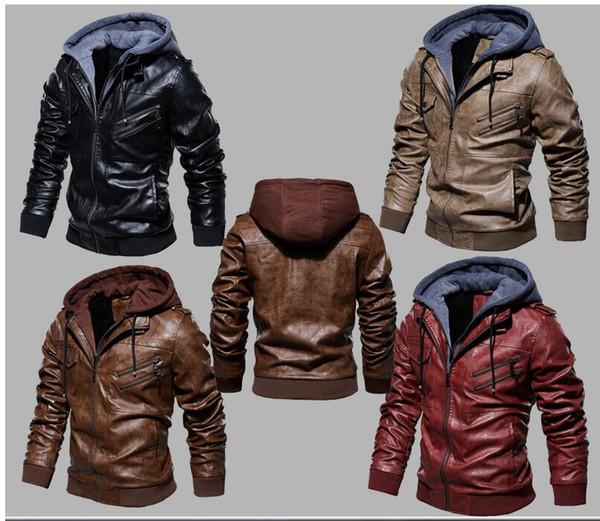 Erkek PU ceketler Giyim Deri Kapşonlu Biker Coat Erkekler 2020 Serin Motosiklet Ceket Erkek Kış Sonbahar Jaquetas De Motocicleta 4XL