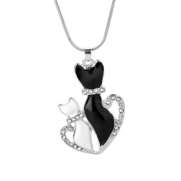 Shellhard Belle Pet Chaîne Colliers Charmes Cristal Noir Et Blanc Chat Amour Coeur Pendentif Collier Pour Les Femmes Bijoux Kolye