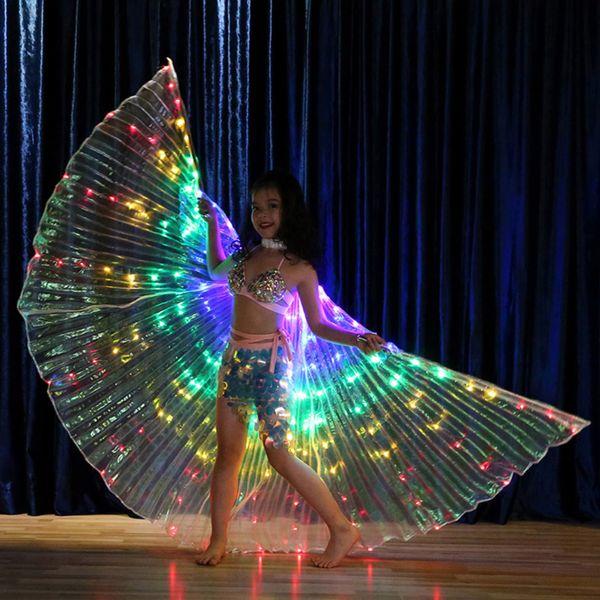 Chicas Luminoso de color Luz ISIS Alas de Ángel Led Mariposa Traje de Danza del Vientre para Niño Baile de Danza Accesorio de Baile