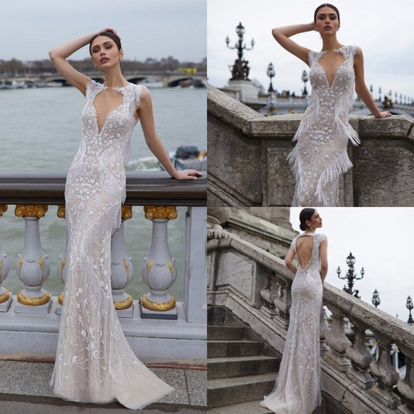 Julie Vino 2019 Vestidos de novia Joya Sin mangas Encaje Apliques Borla Vestidos de novia Hueco Parte posterior del piso Mermaid Beach Wedding Dress