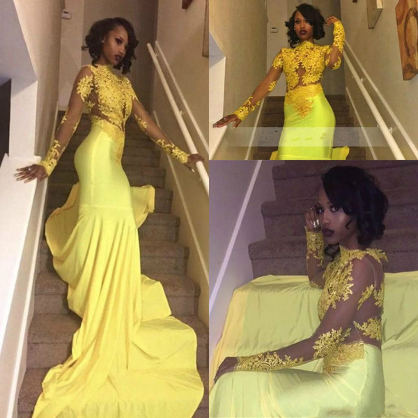 Black Girls Yellow Mermaid Prom Dresses Elegant High Neck See Through Top Lace Long Sleeves Evening Gowns Sheer Back Tight Skirt With Train