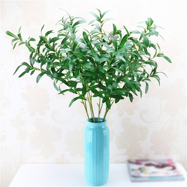 3pcs/lot 6 fork Green Artificial Olive Branches Simulation Fruit Artificial Plant Leaves Home Wedding Decorative Fake Flowers