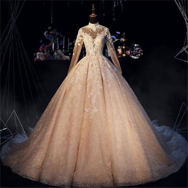 Immagini reali di lusso paillettes luccicanti arabo abito da sposa musulmano maniche lunghe vintage collo alto saudi dubai plus size abito da sposa cph015