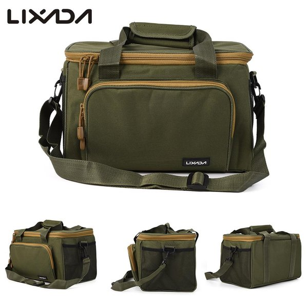 Lixada Men Reel Lure Bag Canvas Multifunctional Outdoor Waist Shoulder Bags Storage Fishing Tackle Pesca 37*25*25cm