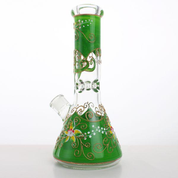 2018 Hot Desigan Hot Sellin bagliore nel tubo di acqua di vetro scuro 12 pollici 7 MM spessore Handpaint Beaker di vetro Bong oil rig