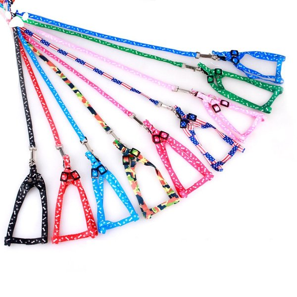 top popular 1.0*120cm Dog Harness Leashes Nylon Printed Adjustable Pet Dog Collar Puppy Cat Animals Accessories Pet Necklace Rope Tie Collar AN1910 2020