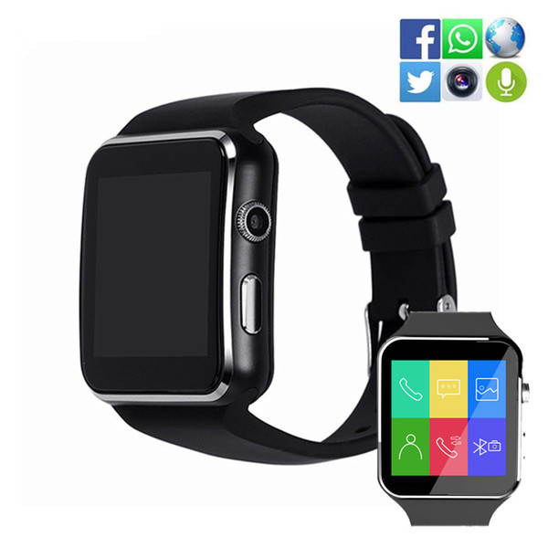 X6 Bluetooth Smart Watch Sport Passometer Smartwatch con supporto per orologio da fotocamera SIM Card Whatsapp Facebook Wristband per Android Phone Watch