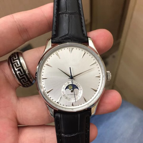Top New Style Men's Watch Imported Automatic Mechanical Movement 44MM White Luminous Dial Sapphire Glass Leather Leather Strap Wrist Watch
