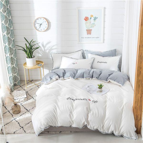 100%Cotton White Grey Cute Girls Bedding Sets Soft Bedclothes King Queen  Size Duvet Cover Bed Sheet Linens Set Pillowcase Full Bedding Sets Bedding  ...