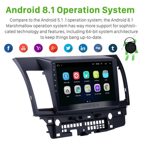 harfey android 8.1 10.1'' touchscreen gps audio stereo navigation radio for mitsubishi lancer-ex car multimedia player 3g wifi car dvd